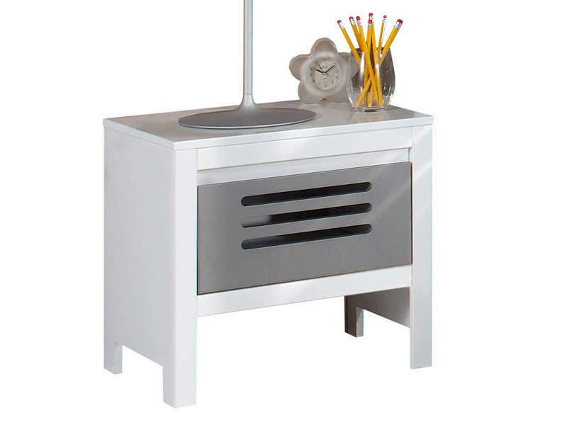Chevet ATELIER coloris Blanc et gris Conforama Pickture