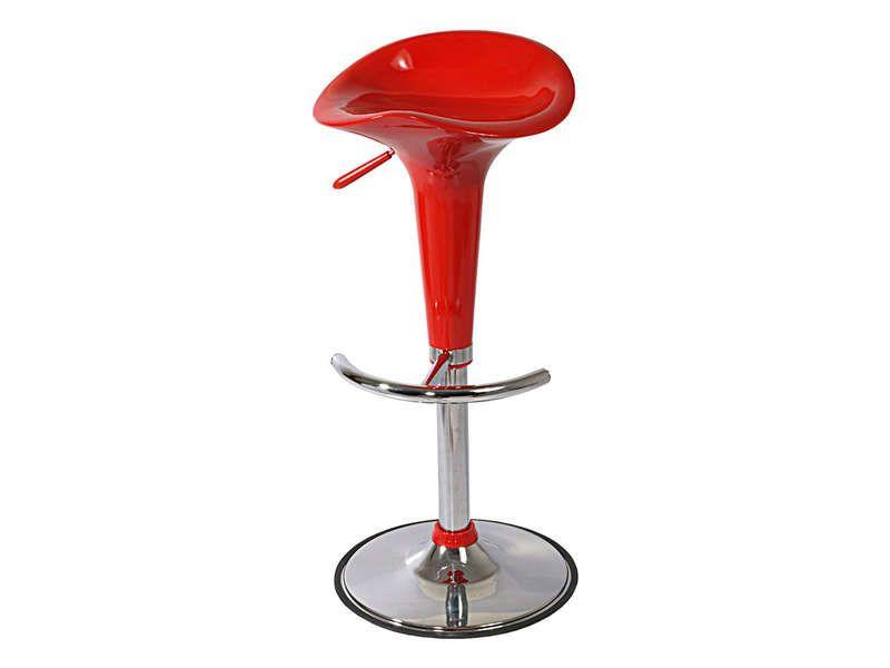 Tabouret de bar pump coloris rouge conforama pickture - Conforama tabouret bar ...
