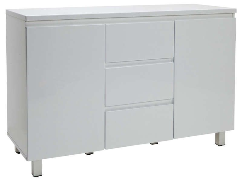 Enfilade 2 portes 3 tiroirs sydney coloris blanc for Buffet blanc laque conforama
