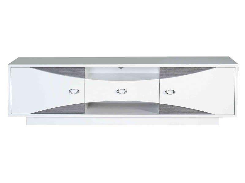 banc tv wave coloris blanc conforama pickture. Black Bedroom Furniture Sets. Home Design Ideas