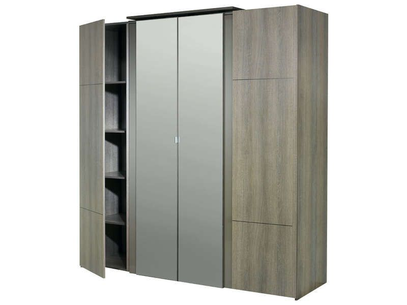 armoire 4 portes avec miroir quadra coloris conforama. Black Bedroom Furniture Sets. Home Design Ideas
