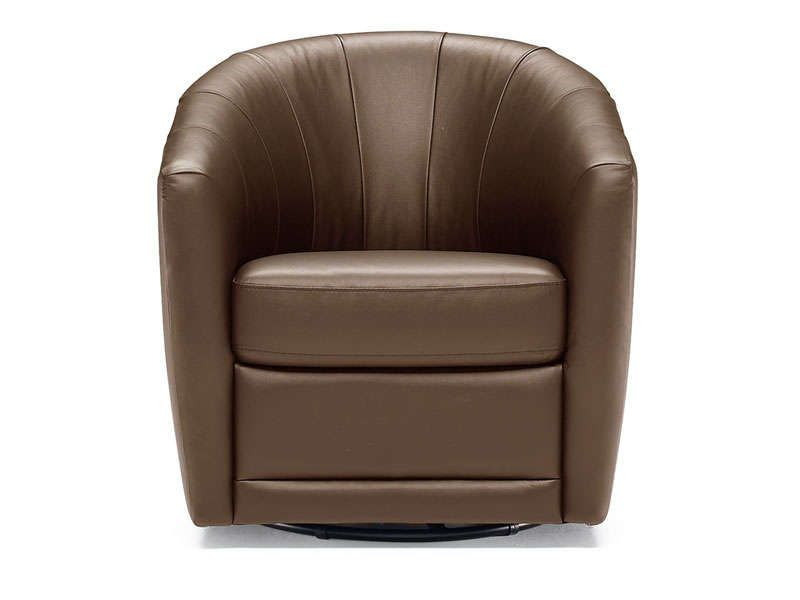 fauteuil pivotant en cuir toupy coloris chocolat. Black Bedroom Furniture Sets. Home Design Ideas