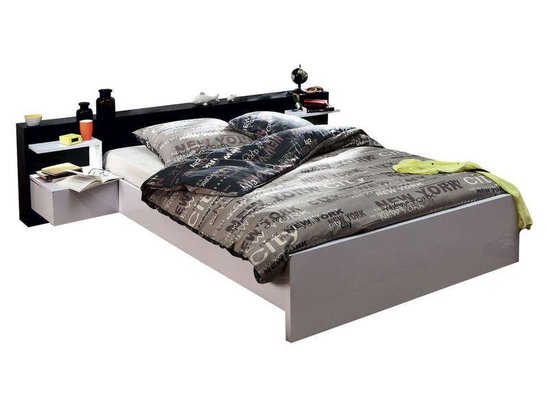 lit 140x190 cm 2 chevets led lano conforama pickture. Black Bedroom Furniture Sets. Home Design Ideas