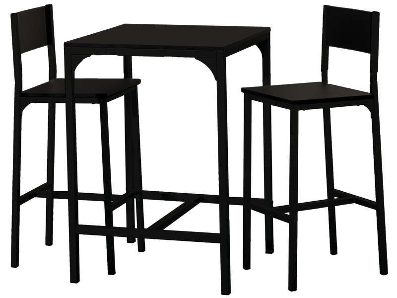 Ensemble table 2 tabourets de bar loko coloris for Chemin de table conforama