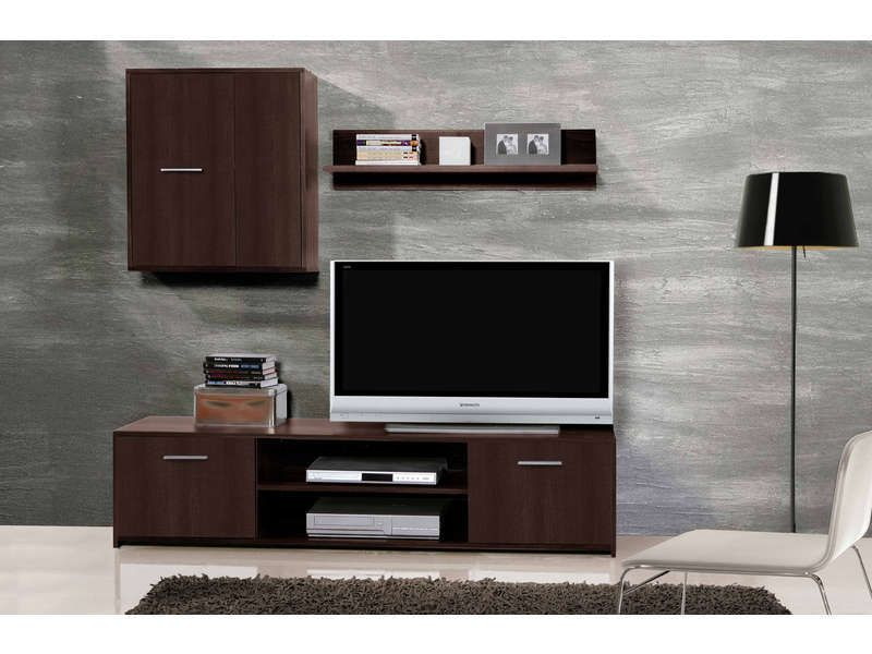 mur tv portes tivy coloris weng conforama pickture. Black Bedroom Furniture Sets. Home Design Ideas