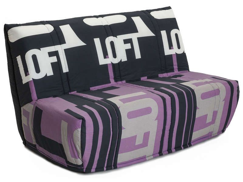 banquette lit bz b loft coloris violet conforama pickture. Black Bedroom Furniture Sets. Home Design Ideas