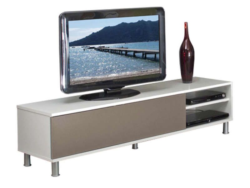 Meuble tv dany coloris blanc taupe conforama pickture for Banc de television
