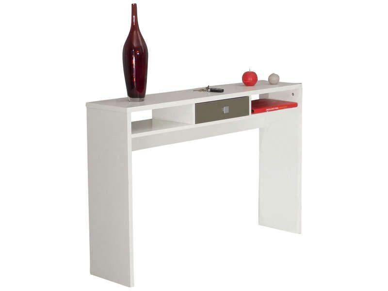 Console coloris blanc taupe conforama pickture for Console avec miroir pour entree