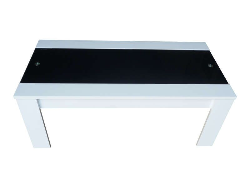 Table basse jackson coloris blanc noir conforama pickture for Prix table salle a manger