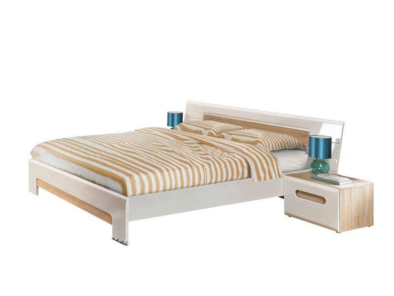 lit 160x200 cm titziano coloris blanc brillant et conforama pickture. Black Bedroom Furniture Sets. Home Design Ideas