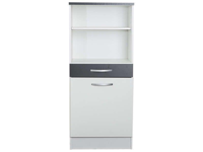1 2 armoire 60 cm 1 porte 1 tiroir woody gris for Armoire 1 porte conforama