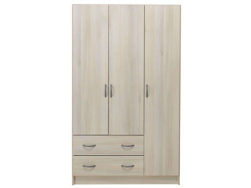 armoire 3 portes 2 tiroirs imola 2 coloris acacia. Black Bedroom Furniture Sets. Home Design Ideas
