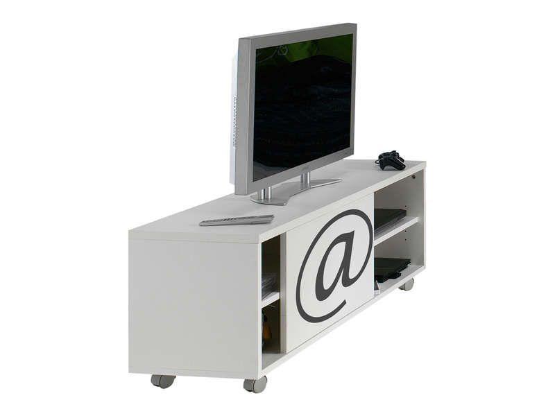 Meuble tv 1 porte arobase coloris blanc conforama pickture - Meuble tv geek ...