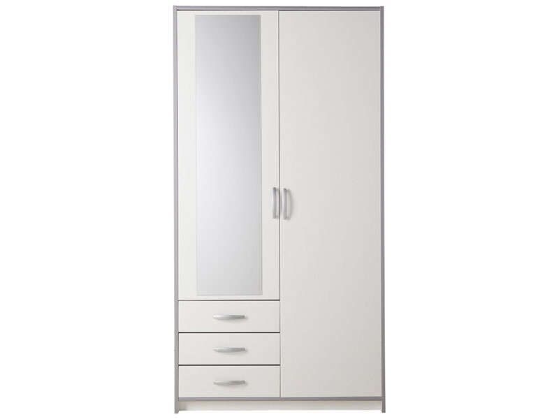 armoire 2 portes 3 tiroirs mars coloris blanc gris conforama pickture. Black Bedroom Furniture Sets. Home Design Ideas