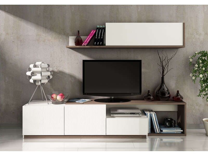 mur tv 3 portes 1 tiroir otawa coloris pin conforama pickture. Black Bedroom Furniture Sets. Home Design Ideas