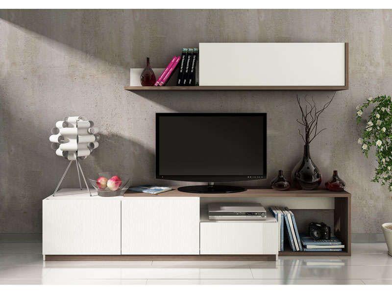 Mur tv 3 portes 1 tiroir otawa coloris pin conforama - Meuble tv geek ...