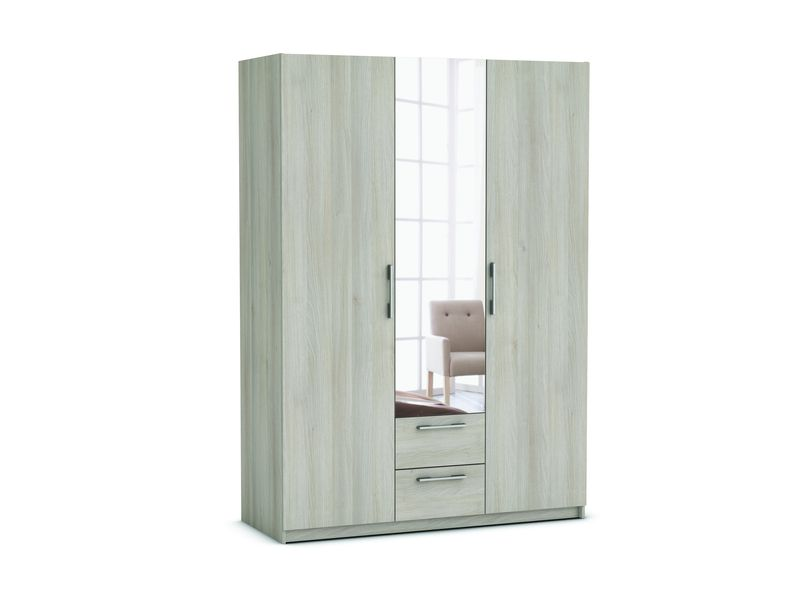 armoire 3 portes 2 tiroirs saturne coloris acacia. Black Bedroom Furniture Sets. Home Design Ideas