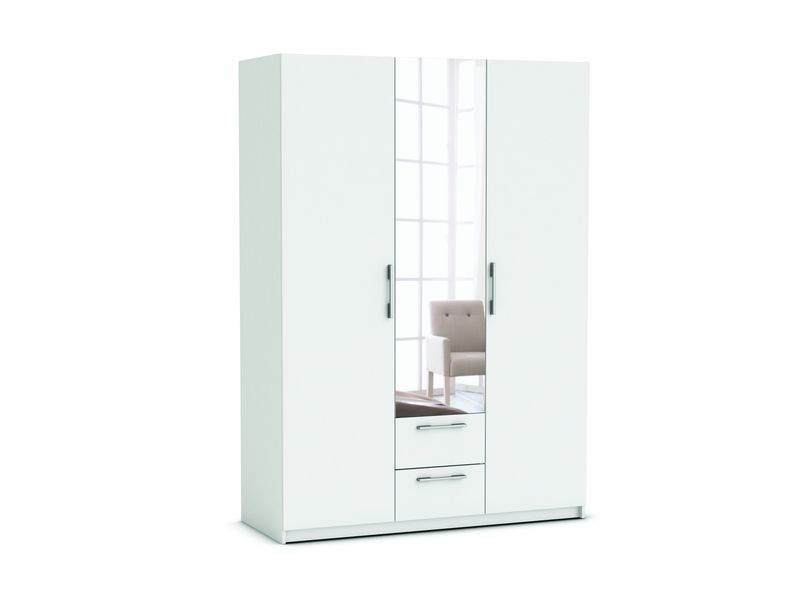 armoire 3 portes 2 tiroirs saturne coloris blanc conforama pickture. Black Bedroom Furniture Sets. Home Design Ideas