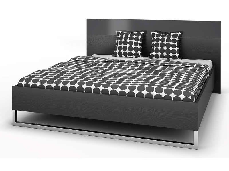 Lit 180×200 cm + tête de lit STYLE Coloris noir