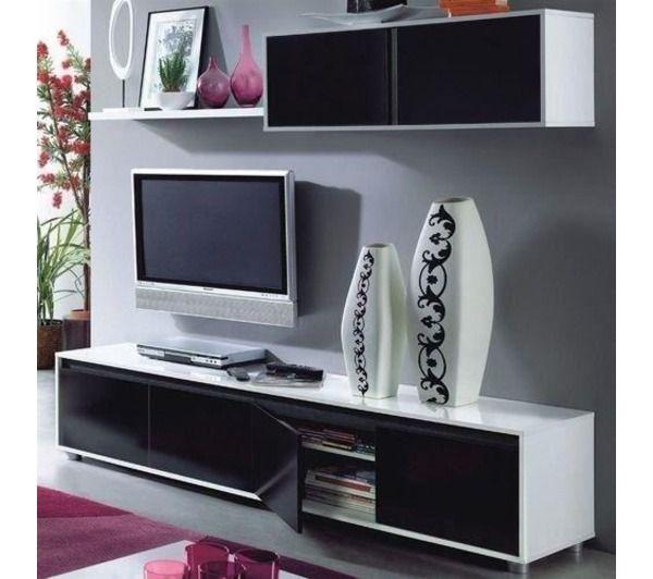 Alida meuble tv mural 200 cm noir blanc noname pickture - Meuble tv geek ...