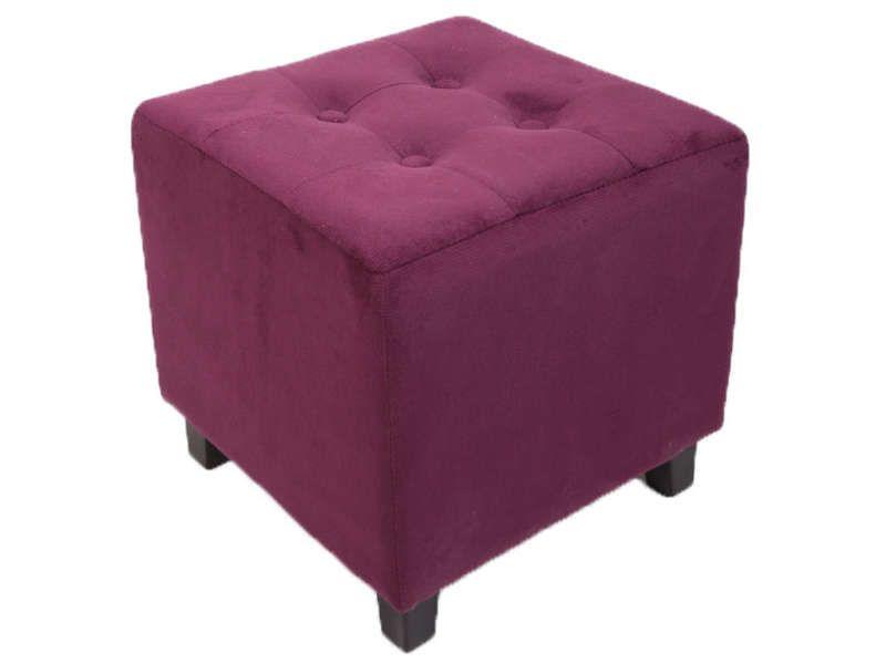 pouf louis coloris aubergine conforama pickture. Black Bedroom Furniture Sets. Home Design Ideas