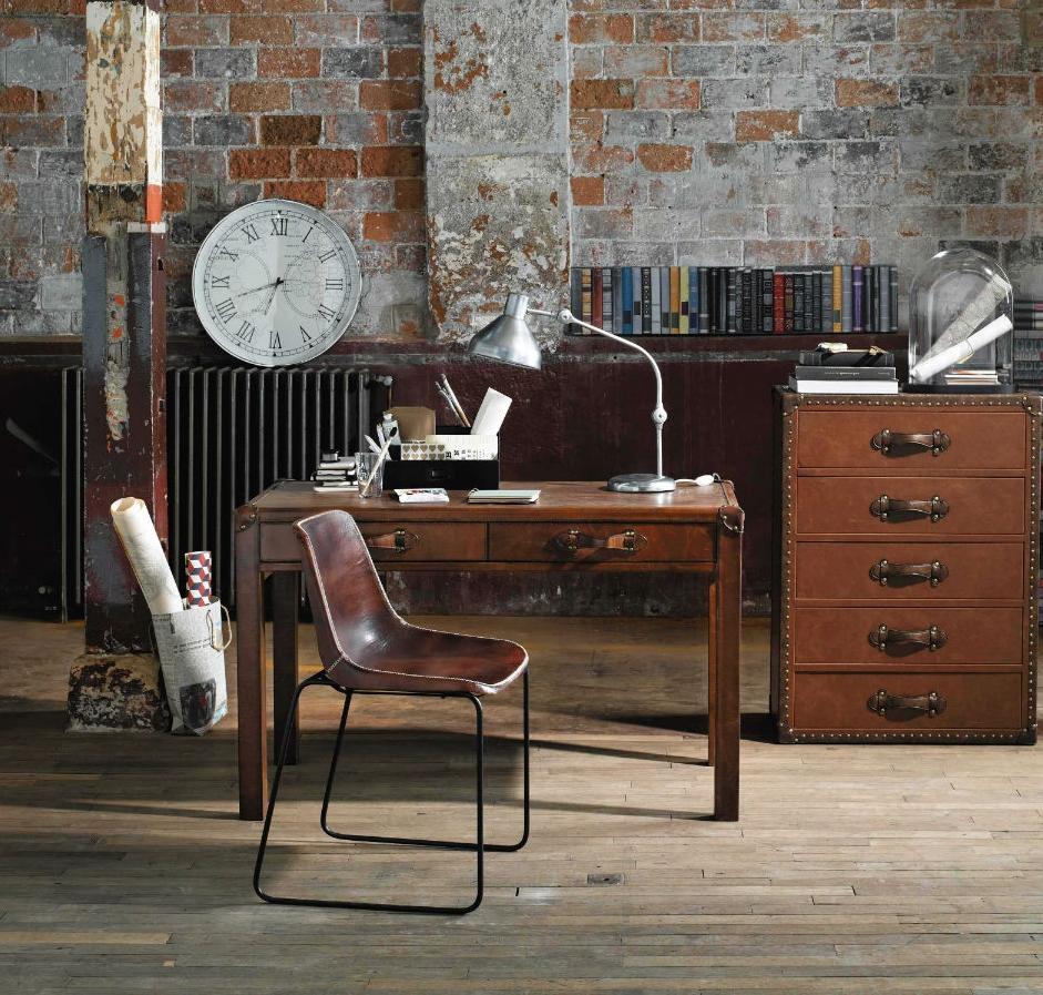 Chaise indus en cuir m tal marron maisons du monde pickture - Chaise metal maison du monde ...