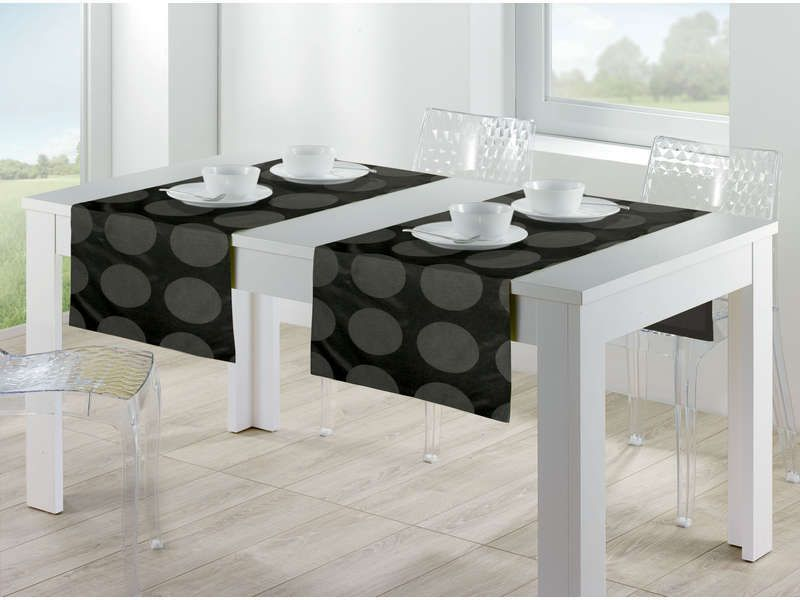 Chemin de table 150x50 cm chic coloris noir conforama - Chemin de table chic ...