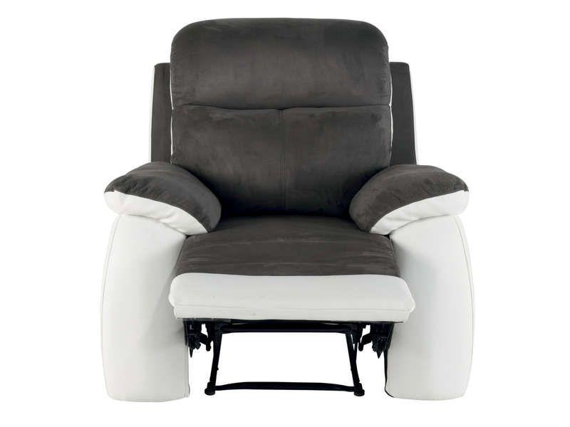 Fauteuil relaxation white coloris gris blanc conforama pickture - Fauteuil relax interieur ...