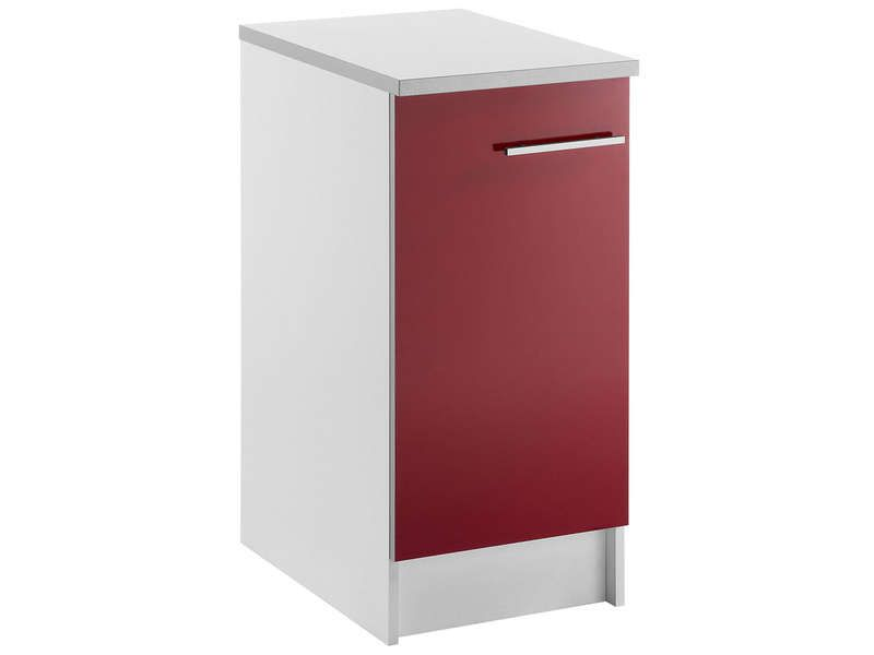 Meuble bas 40 cm 1 porte spoon shiny rouge conforama for Meuble 2 porte conforama