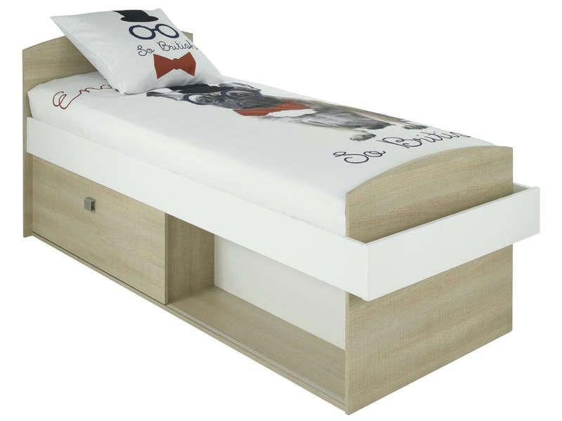lit 90x190 cm folk coloris ch ne conforama pickture. Black Bedroom Furniture Sets. Home Design Ideas