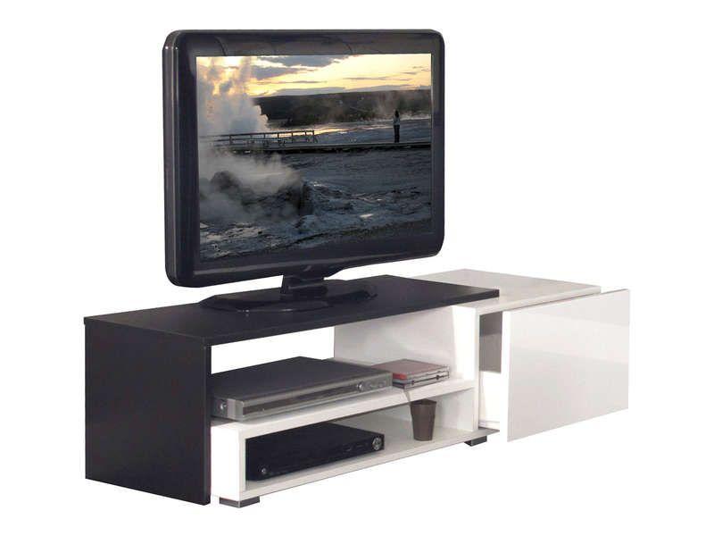 Meuble tv rubis coloris blanc noir conforama pickture for Meuble tv 110 cm conforama