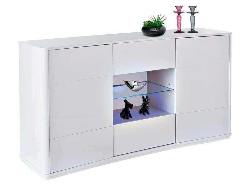 buffet houston coloris blanc conforama pickture. Black Bedroom Furniture Sets. Home Design Ideas