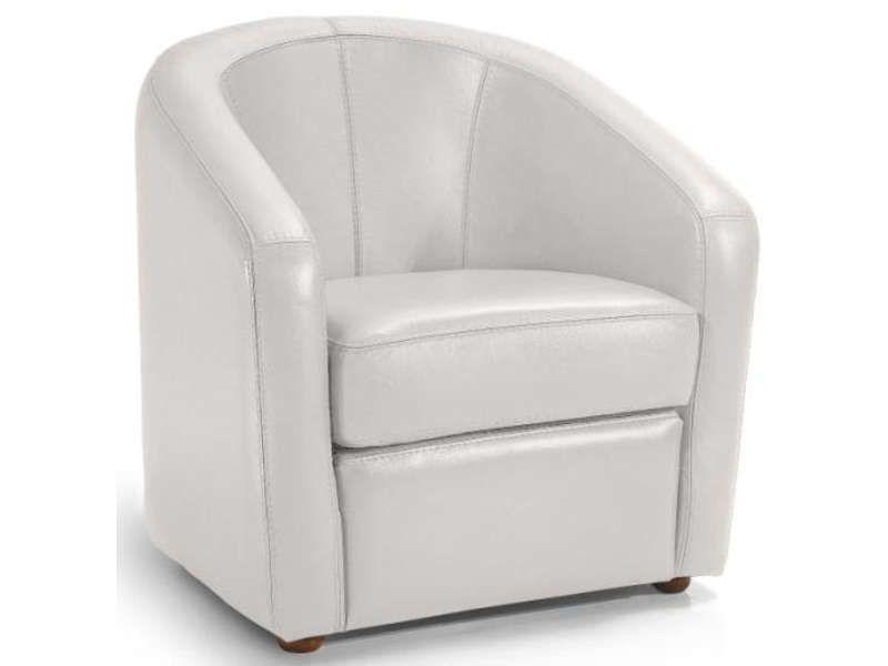 Fauteuil en cuir novi coloris blanc conforama pickture - Entretien fauteuil cuir ...