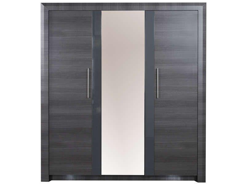 armoire 3 portes pamela coloris gris conforama pickture. Black Bedroom Furniture Sets. Home Design Ideas