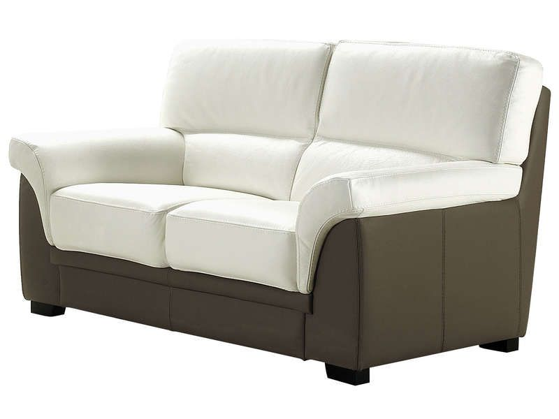 Canap fixe 2 places vita coloris blanc taupe conforama - Conforama canape 2 places ...