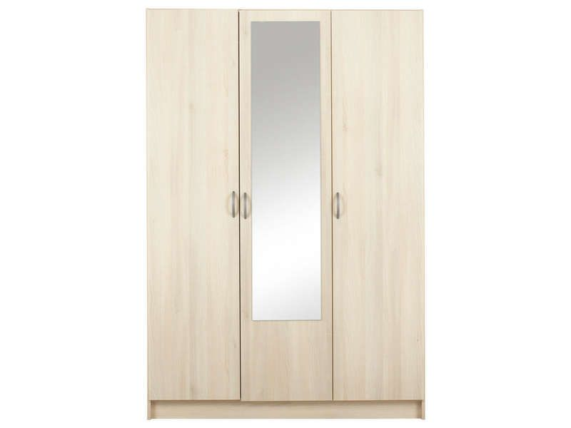 armoire 3 portes 1 porte miroir spot 10 acacia conforama. Black Bedroom Furniture Sets. Home Design Ideas