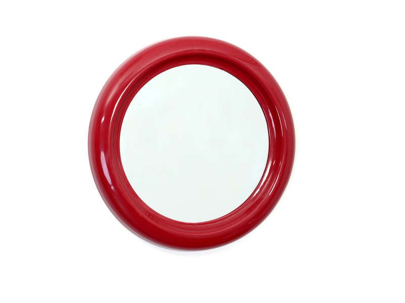 Miroir rond 30 cm coloris rouge conforama pickture for Miroir conforama