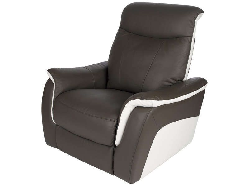 Fauteuil relaxation en cuir evasion coloris conforama for Chaise cuir blanc conforama