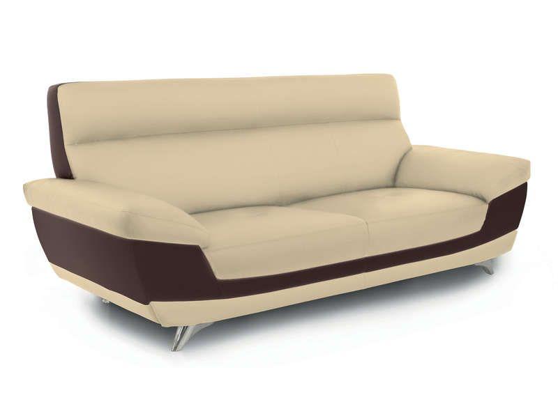 Canap fixe 3 places diagonal coloris beige et conforama - Canape deux places conforama ...