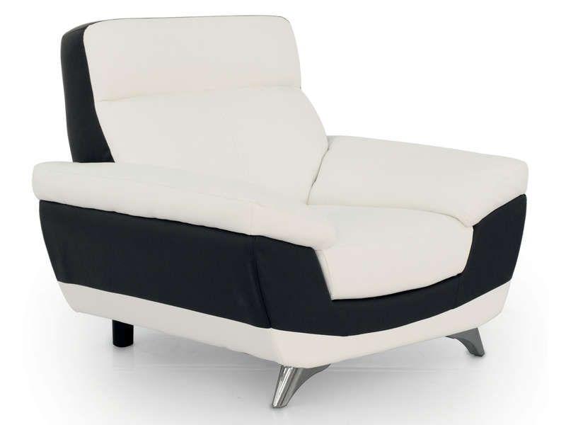 Fauteuil diagonal coloris blanc et noir conforama pickture - Fauteuil blanc conforama ...