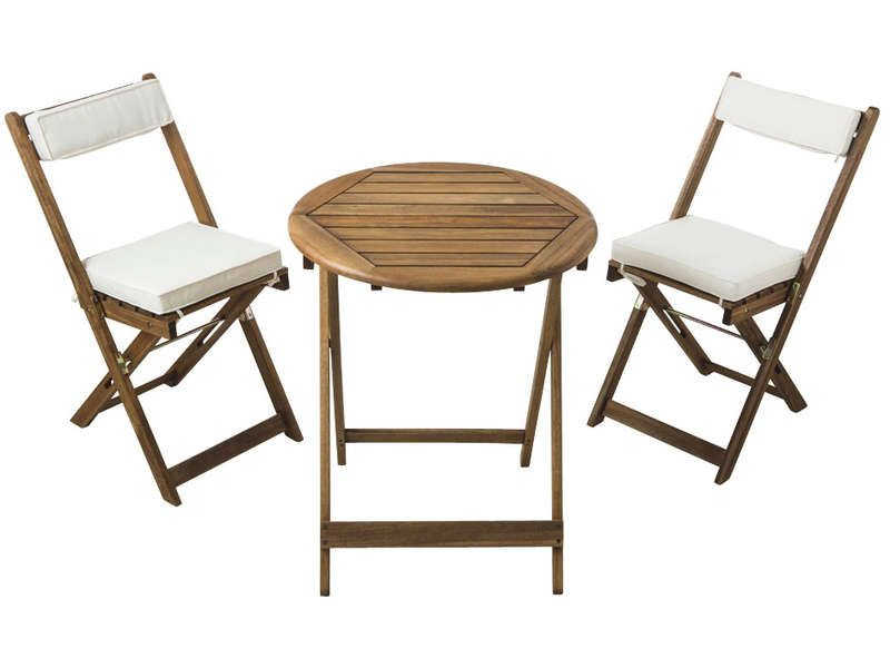 Ensemble table 2 chaises pliantes coussins conforama for Conforama chaise de jardin