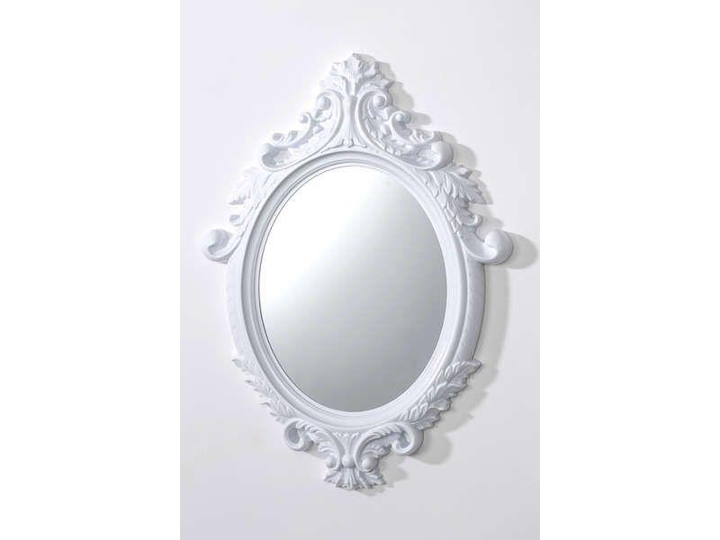 Miroir mural 55x75 cm so pretty coloris blanc conforama for Conforama miroir blanc