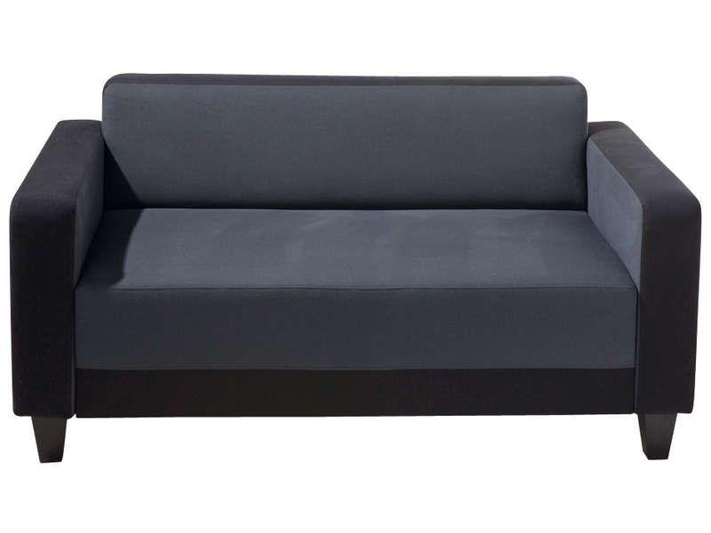 Canap fixe 2 places scalp 3 coloris noir et gris for Canape hauteur assise 60