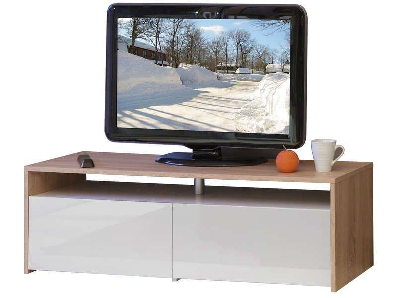 Meuble tv 2 tiroirs coloris ch ne blanc conforama pickture - Meuble tv geek ...