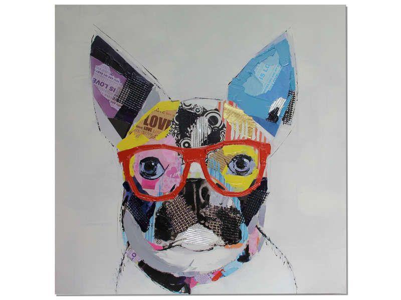 toile tendue sur ch ssis 80x80 cm funny dog conforama pickture. Black Bedroom Furniture Sets. Home Design Ideas
