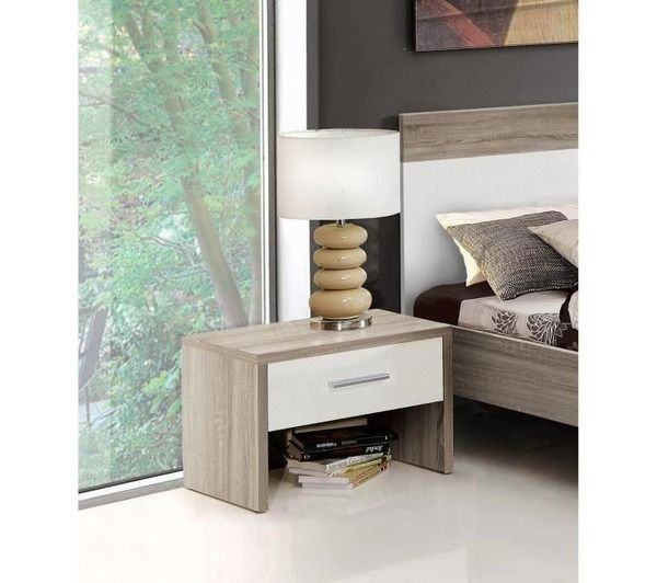 helen chevet chene gris et blanc brillant noname pickture. Black Bedroom Furniture Sets. Home Design Ideas