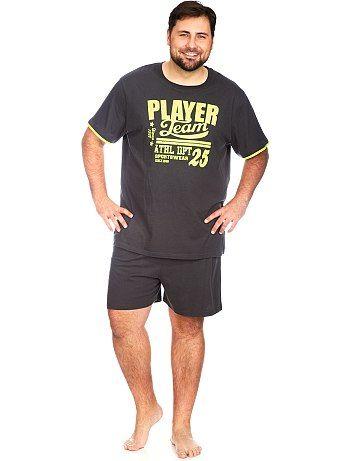 pyjama pour homme kiabi pyjama court print fluo grande taille. Black Bedroom Furniture Sets. Home Design Ideas