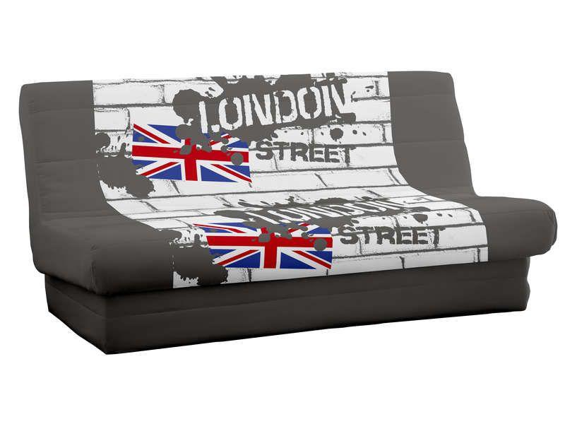 housse pour clic clac 140cm london conforama pickture. Black Bedroom Furniture Sets. Home Design Ideas