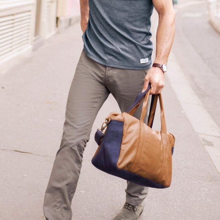 Leather and Canvas Bag with Pockets - La Redoute