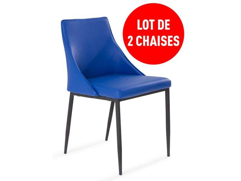 lot de 2 chaises call coloris bleu conforama pickture. Black Bedroom Furniture Sets. Home Design Ideas